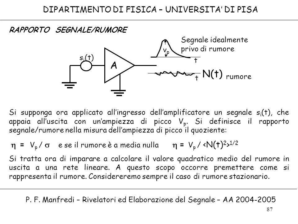 A N(t) DIPARTIMENTO DI FISICA – UNIVERSITA' DI PISA