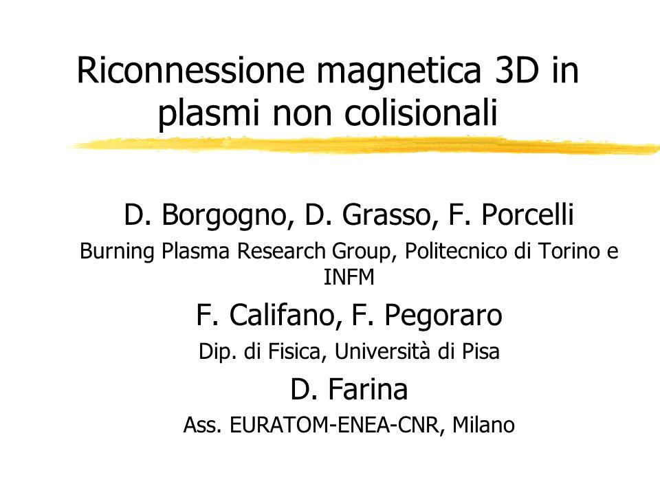 Riconnessione magnetica 3D in plasmi non colisionali