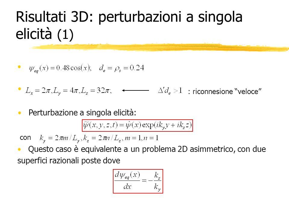 Risultati 3D: perturbazioni a singola elicità (1)