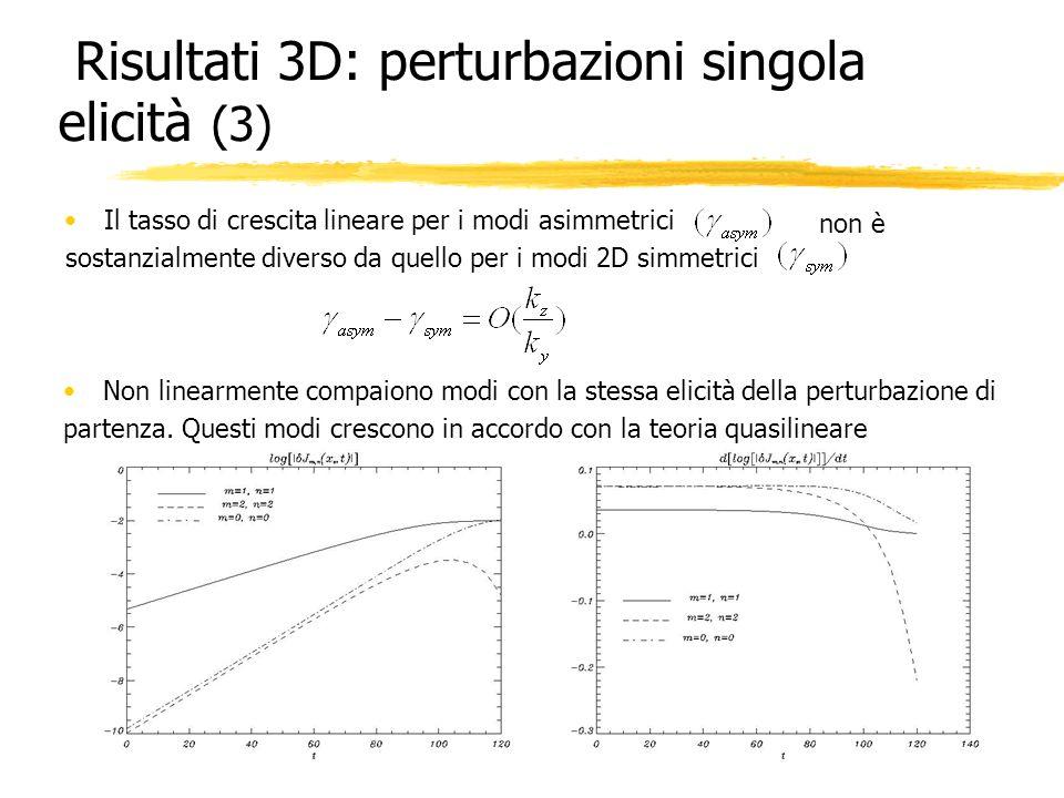 Risultati 3D: perturbazioni singola elicità (3)