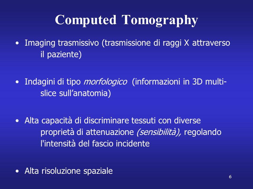 Computed Tomography Imaging trasmissivo (trasmissione di raggi X attraverso il paziente)