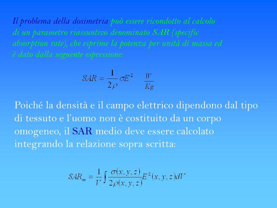 Il problema della dosimetria può essere ricondotto al calcolo di un parametro riassuntivo denominato SAR (specific absorption rate), che esprime la potenza per unità di massa ed è dato dalla seguente espressione: