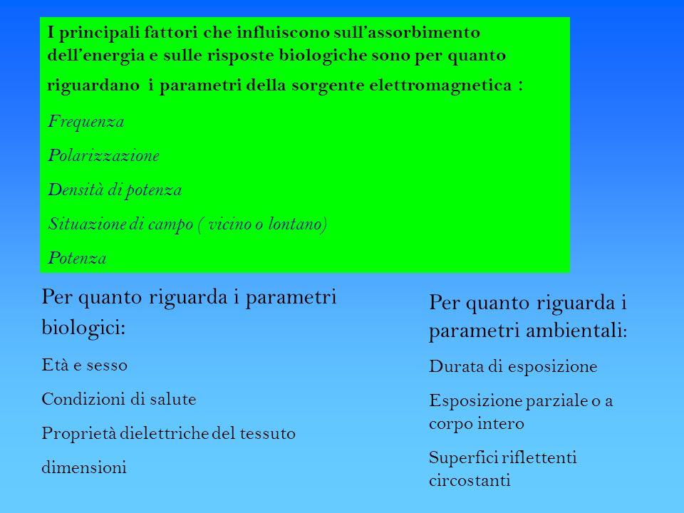 Per quanto riguarda i parametri biologici: