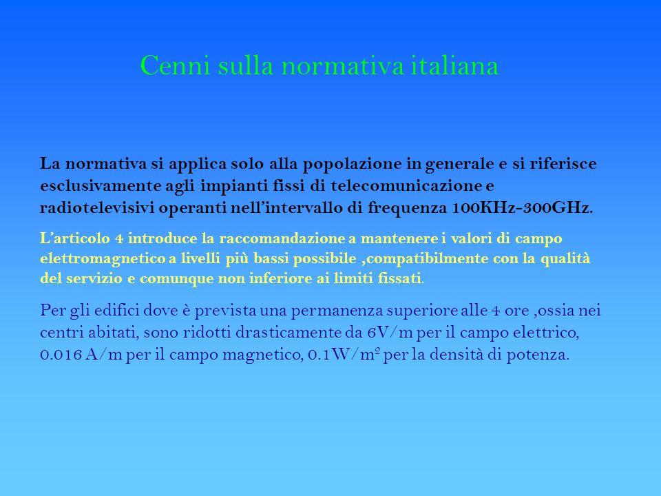 Cenni sulla normativa italiana