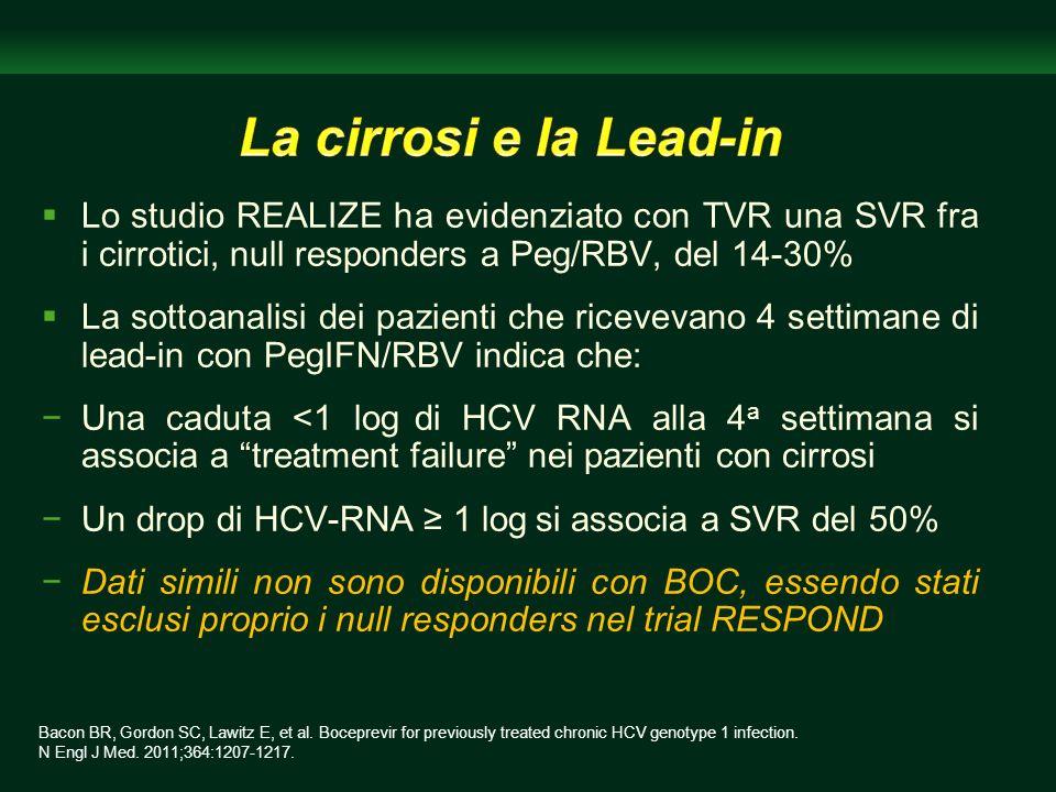 La cirrosi e la Lead-in Lo studio REALIZE ha evidenziato con TVR una SVR fra i cirrotici, null responders a Peg/RBV, del 14-30%