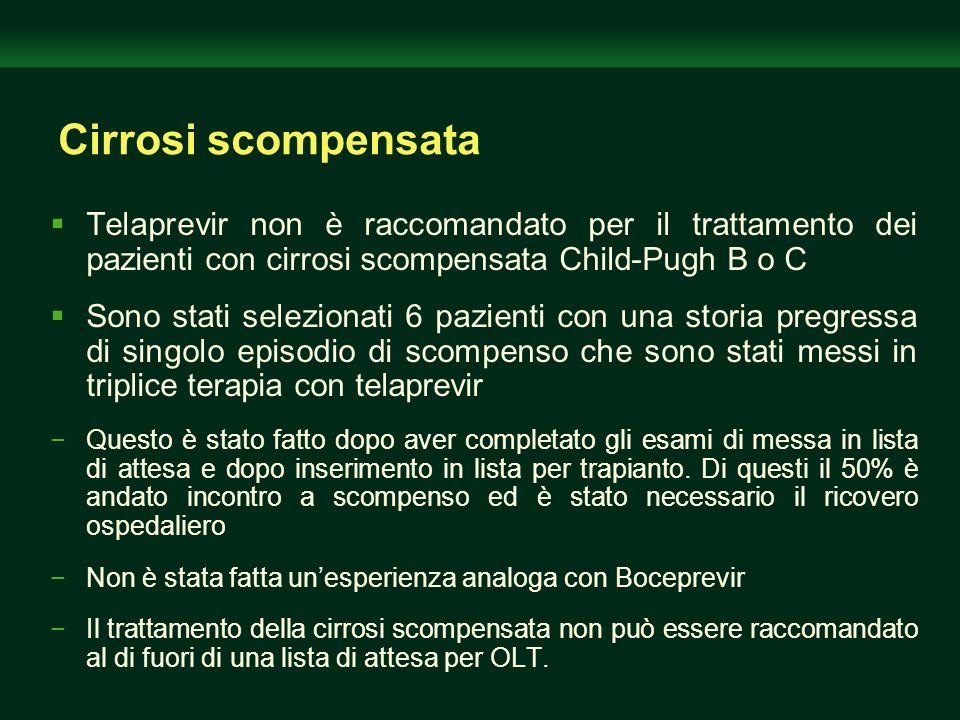 Cirrosi scompensata Telaprevir non è raccomandato per il trattamento dei pazienti con cirrosi scompensata Child-Pugh B o C.