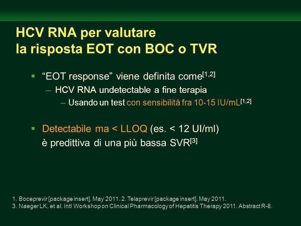 HCV RNA per valutare la risposta EOT con BOC o TVR