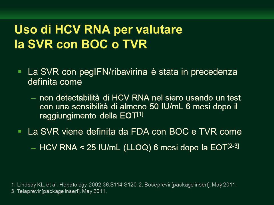 Uso di HCV RNA per valutare la SVR con BOC o TVR
