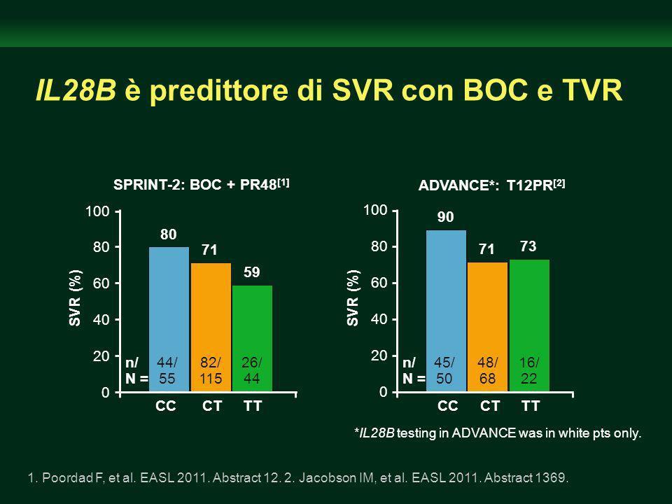 IL28B è predittore di SVR con BOC e TVR