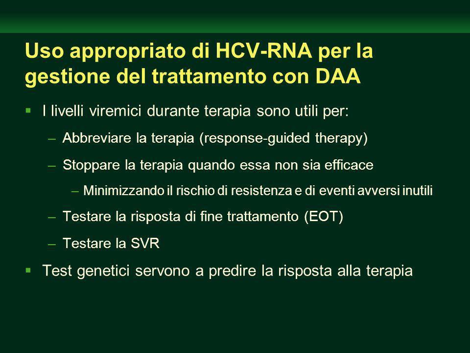 Uso appropriato di HCV-RNA per la gestione del trattamento con DAA