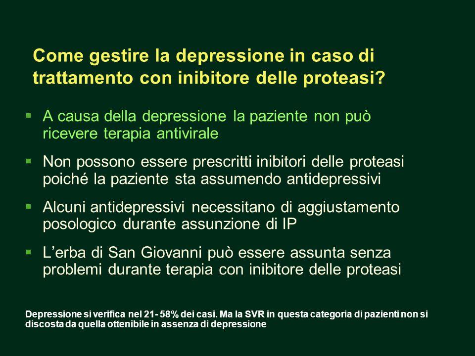 Come gestire la depressione in caso di trattamento con inibitore delle proteasi