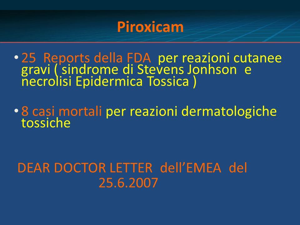 Piroxicam 25 Reports della FDA per reazioni cutanee gravi ( sindrome di Stevens Jonhson e necrolisi Epidermica Tossica )