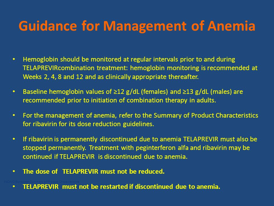 Guidance for Management of Anemia