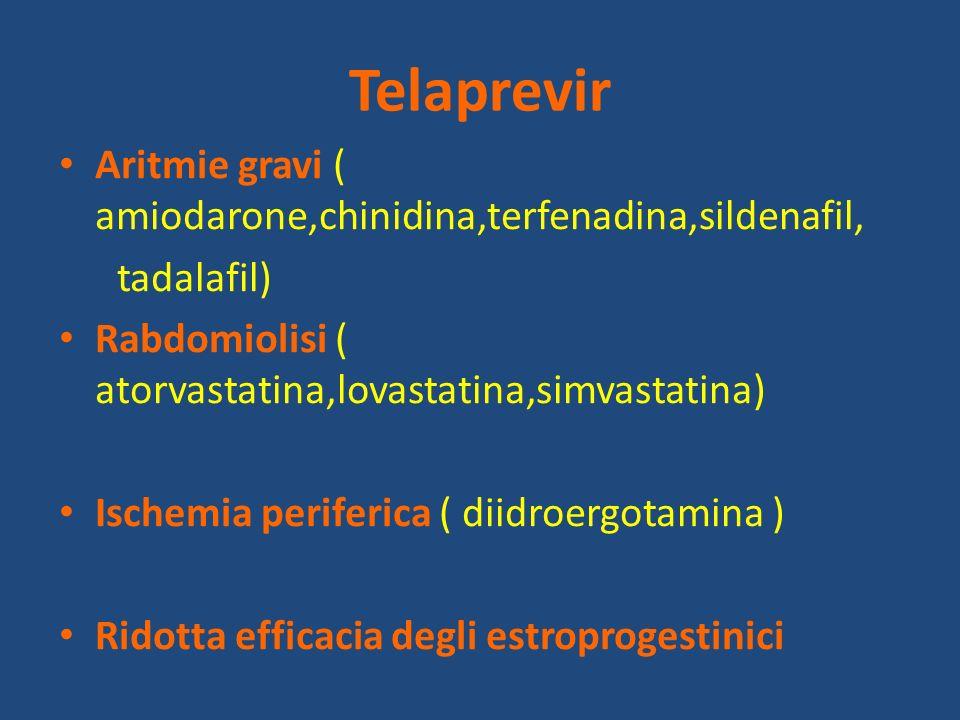 Telaprevir Aritmie gravi ( amiodarone,chinidina,terfenadina,sildenafil, tadalafil) Rabdomiolisi ( atorvastatina,lovastatina,simvastatina)