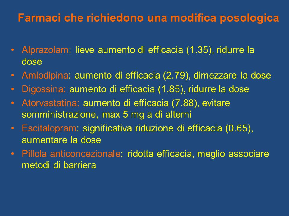 Farmaci che richiedono una modifica posologica