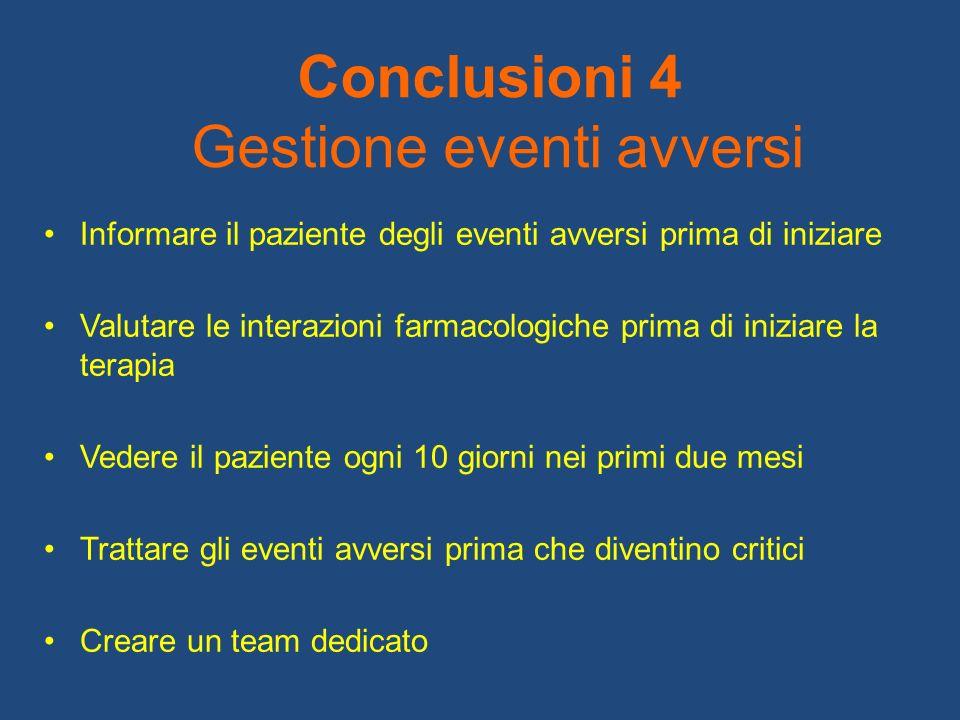 Conclusioni 4 Gestione eventi avversi