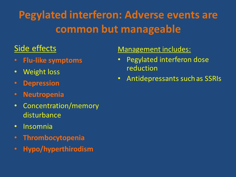 Pegylated interferon: Adverse events are common but manageable
