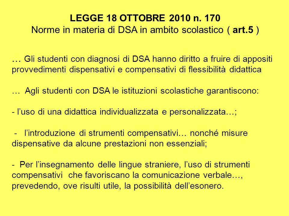 Norme in materia di DSA in ambito scolastico ( art.5 )