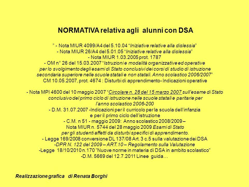 NORMATIVA relativa agli alunni con DSA