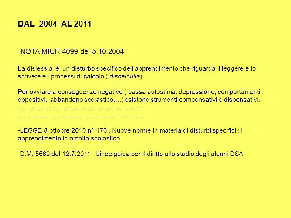 DAL 2004 AL 2011 NOTA MIUR 4099 del 5.10.2004.