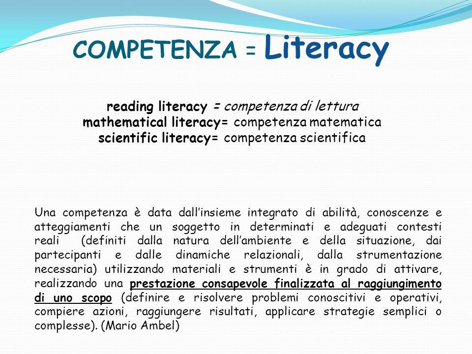 COMPETENZA = Literacy reading literacy = competenza di lettura