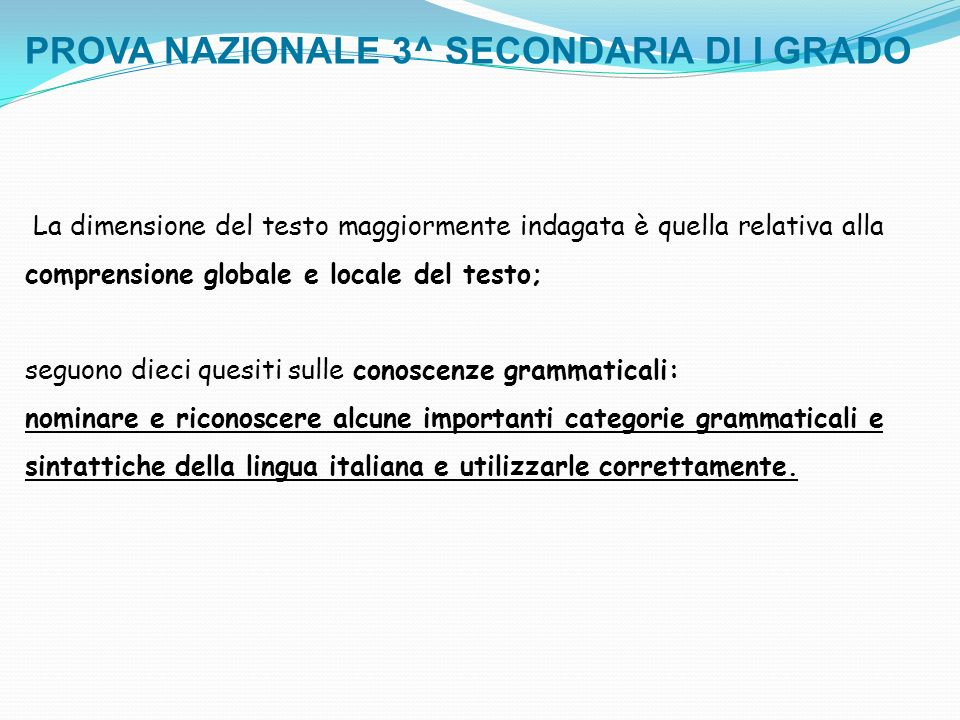 PROVA NAZIONALE 3^ SECONDARIA DI I GRADO