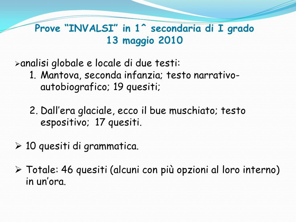 Prove INVALSI in 1^ secondaria di I grado