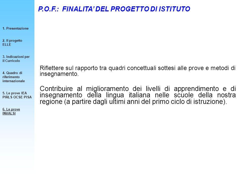 P.O.F.: FINALITA' DEL PROGETTO DI ISTITUTO