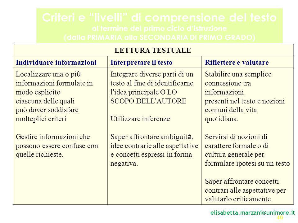 Criteri e livelli di comprensione del testo