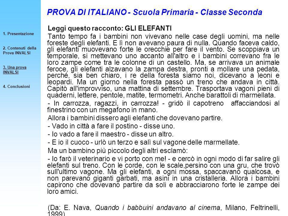 PROVA DI ITALIANO - Scuola Primaria - Classe Seconda