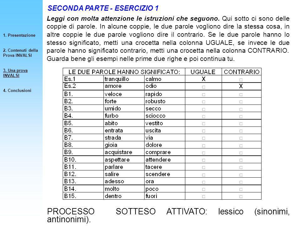 PROCESSO SOTTESO ATTIVATO: lessico (sinonimi, antinonimi).