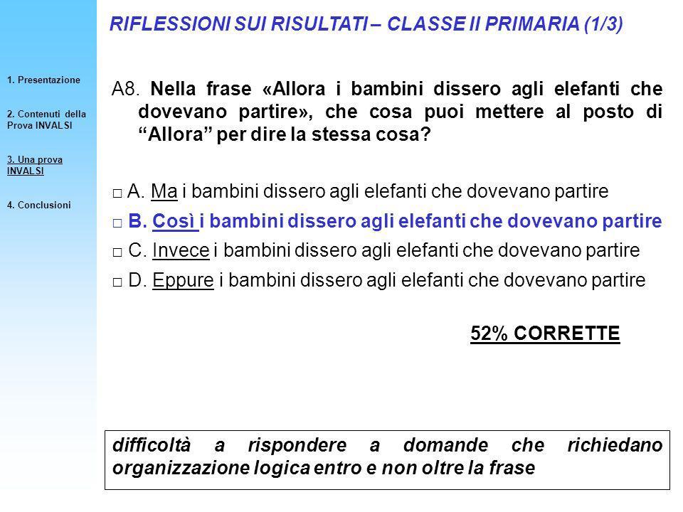 RIFLESSIONI SUI RISULTATI – CLASSE II PRIMARIA (1/3)