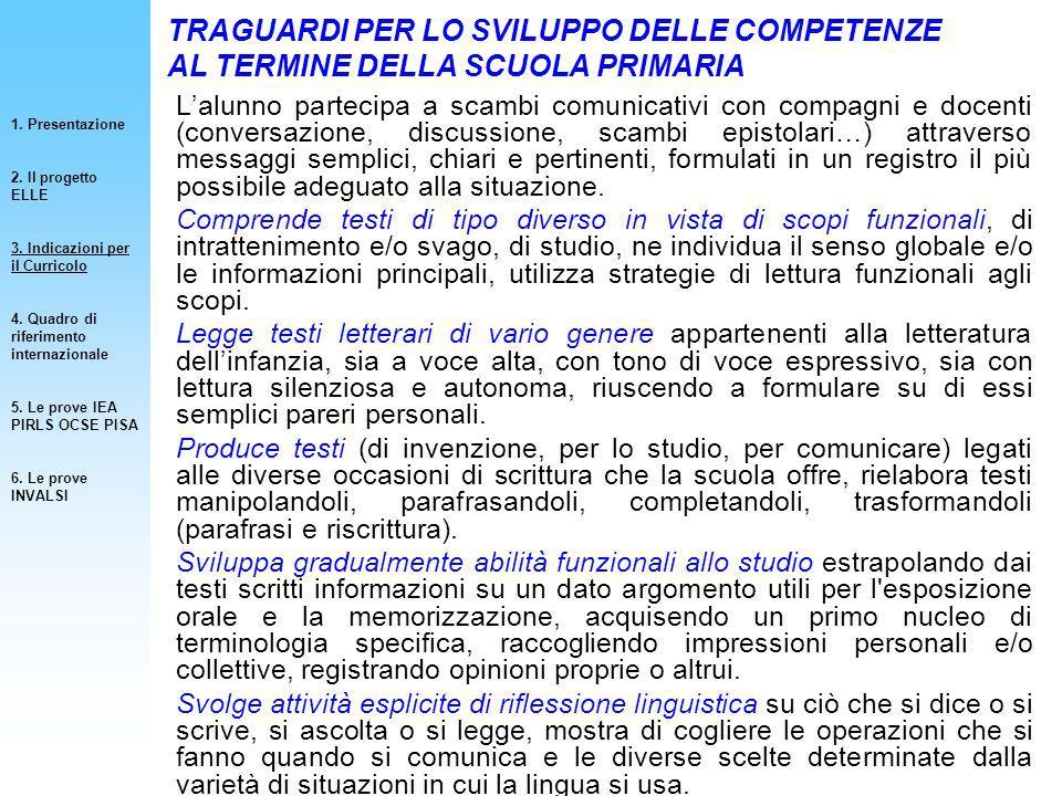 1. Presentazione 2. Il progetto ELLE. 3. Indicazioni per il Curricolo. 4. Quadro di riferimento internazionale.