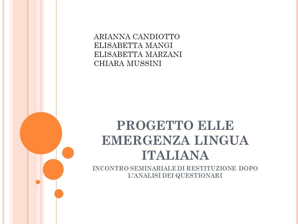 PROGETTO ELLE EMERGENZA LINGUA ITALIANA