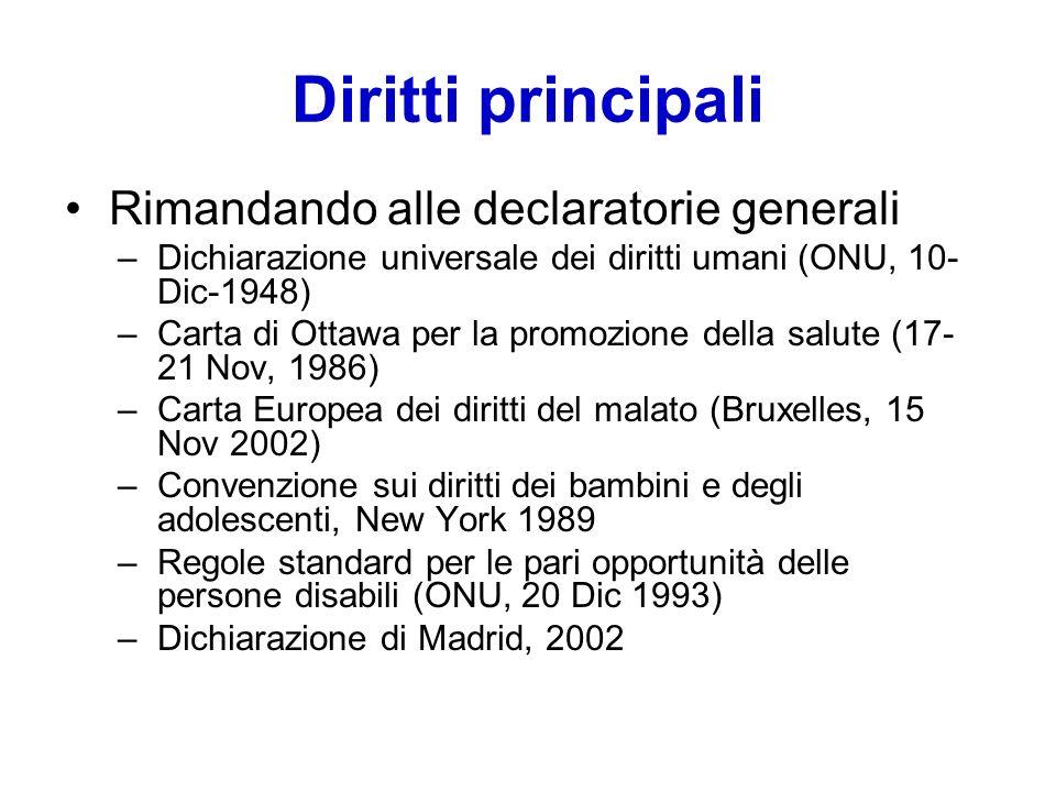 Diritti principali Rimandando alle declaratorie generali
