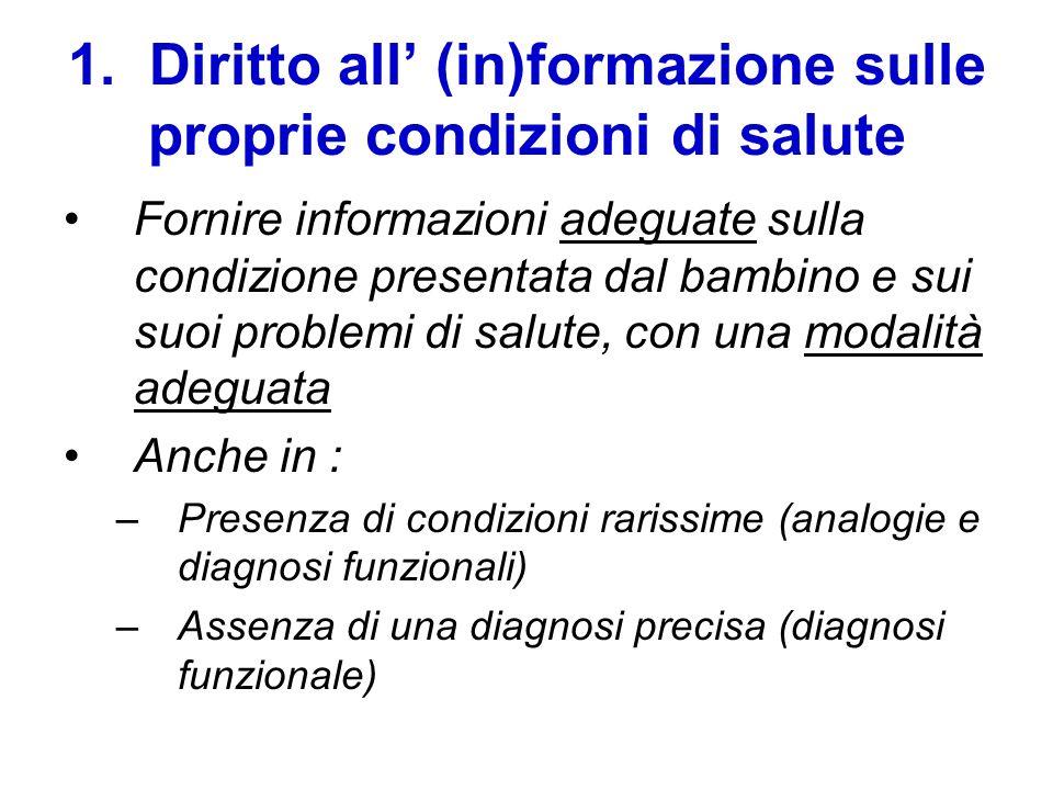 1. Diritto all' (in)formazione sulle proprie condizioni di salute