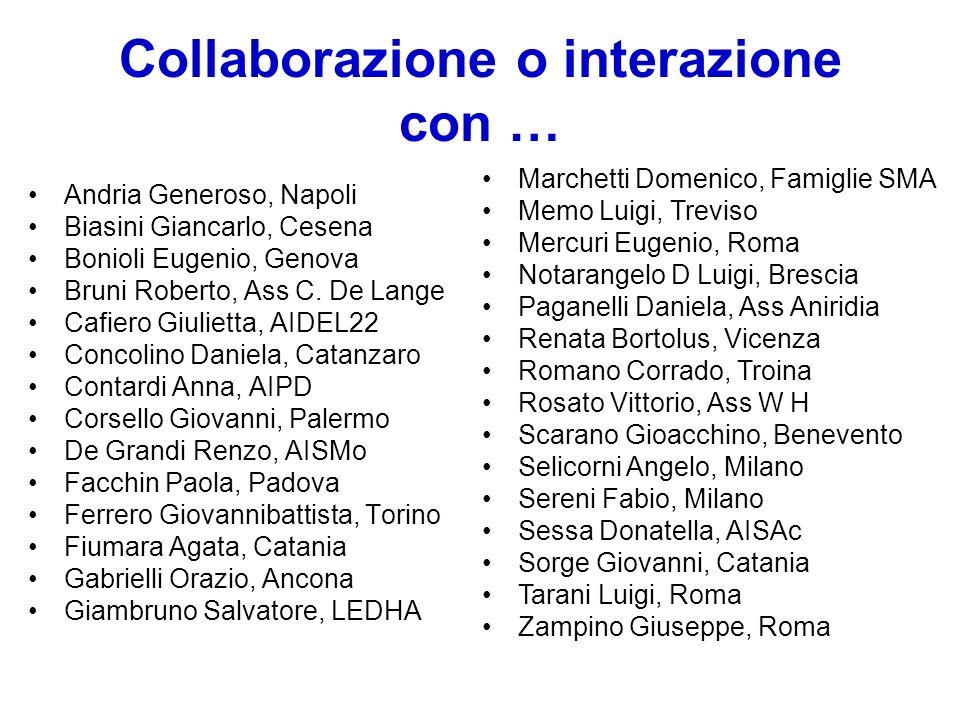 Collaborazione o interazione con …
