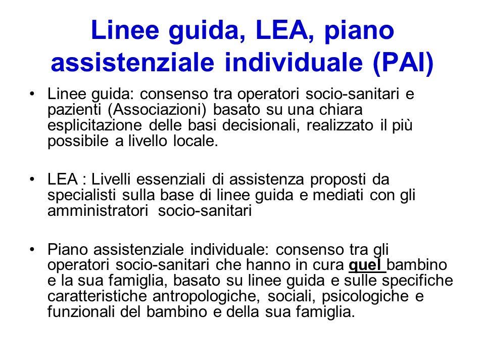 Linee guida, LEA, piano assistenziale individuale (PAI)