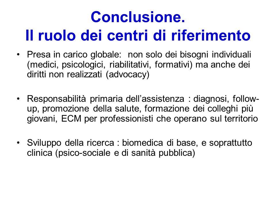 Conclusione. Il ruolo dei centri di riferimento