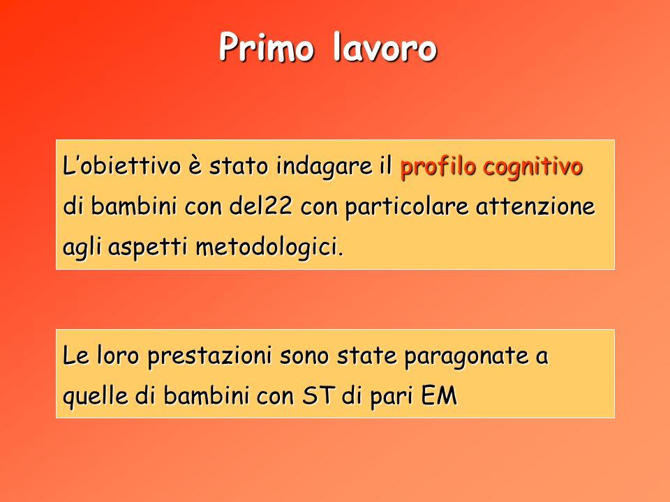 Primo lavoro L'obiettivo è stato indagare il profilo cognitivo di bambini con del22 con particolare attenzione agli aspetti metodologici.