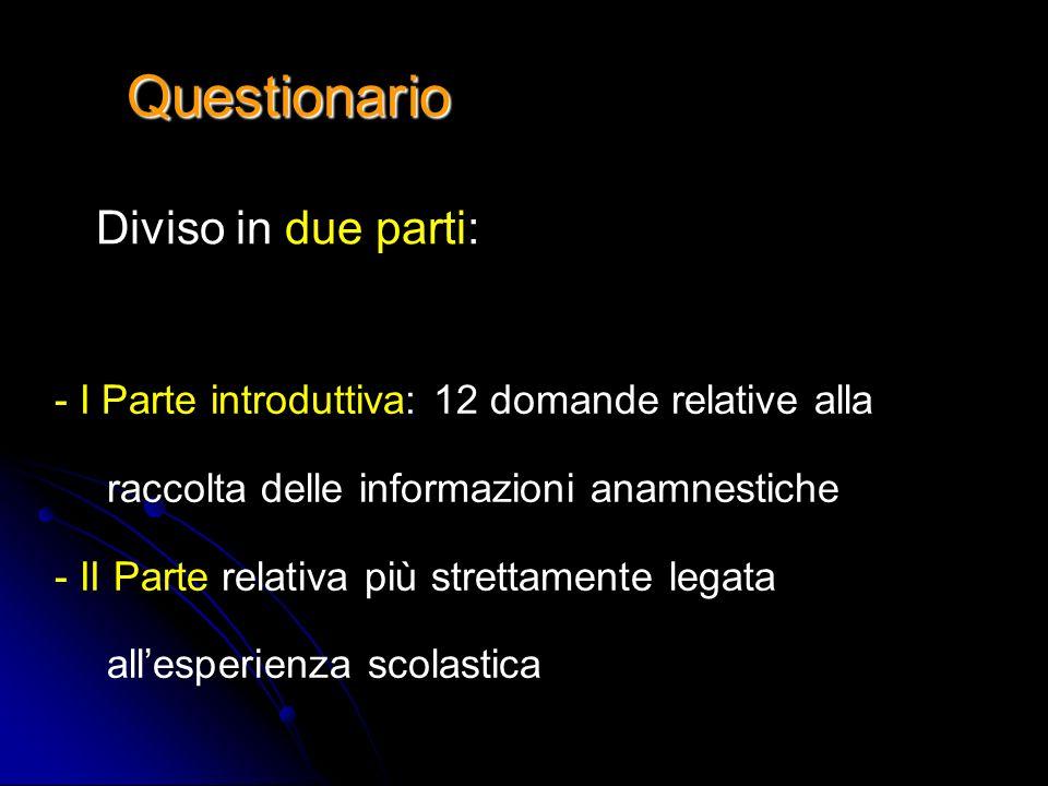 Questionario Diviso in due parti: