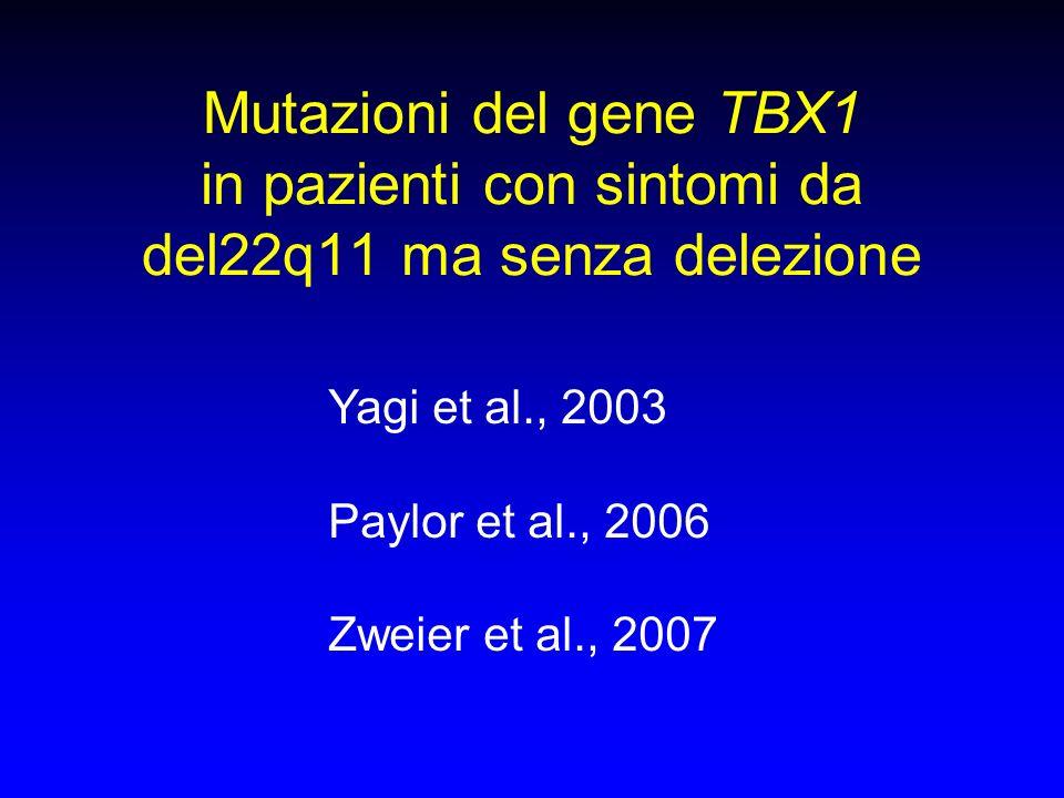 Mutazioni del gene TBX1 in pazienti con sintomi da del22q11 ma senza delezione
