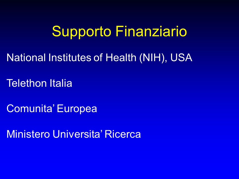 Supporto Finanziario National Institutes of Health (NIH), USA