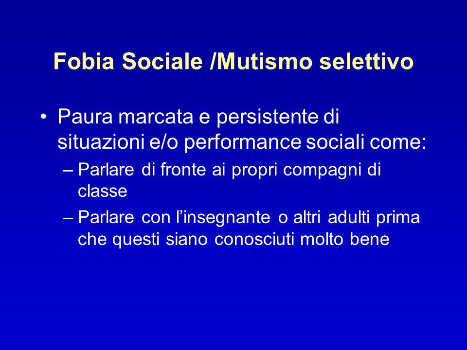 Fobia Sociale /Mutismo selettivo