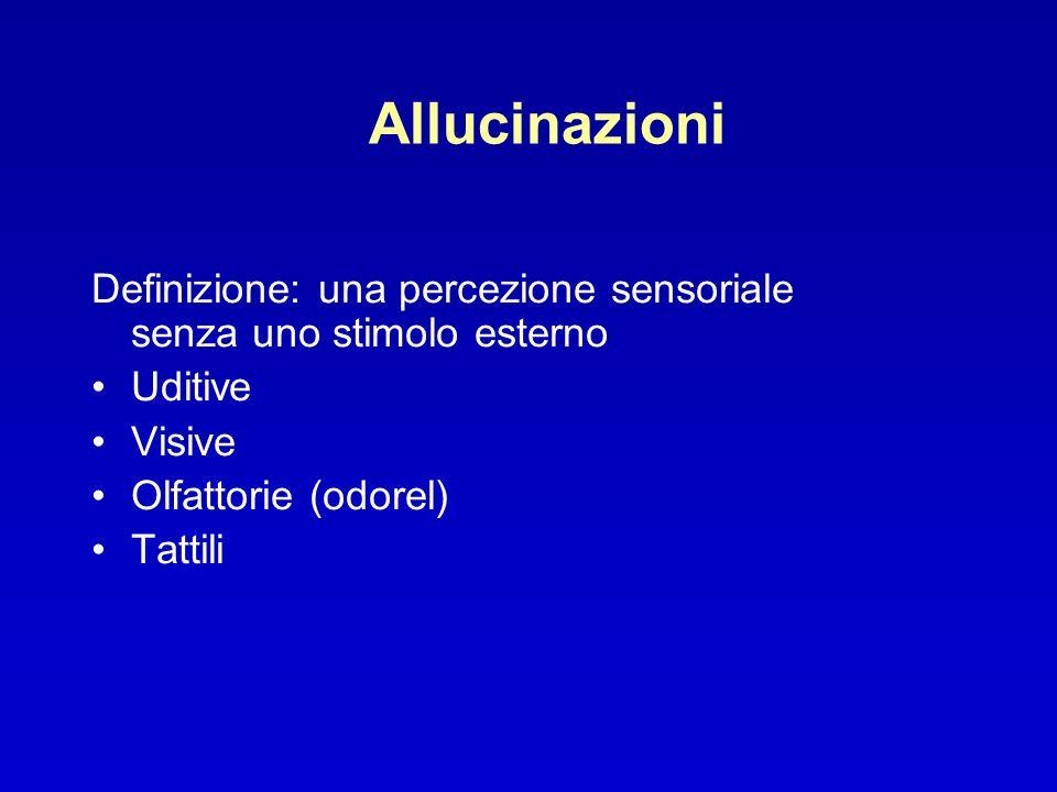 Allucinazioni Definizione: una percezione sensoriale senza uno stimolo esterno. Uditive. Visive. Olfattorie (odorel)