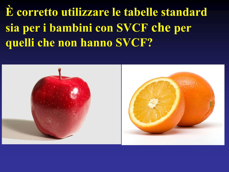 È corretto utilizzare le tabelle standard sia per i bambini con SVCF che per quelli che non hanno SVCF