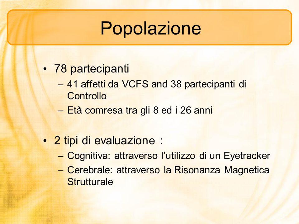 Popolazione 78 partecipanti 2 tipi di evaluazione :