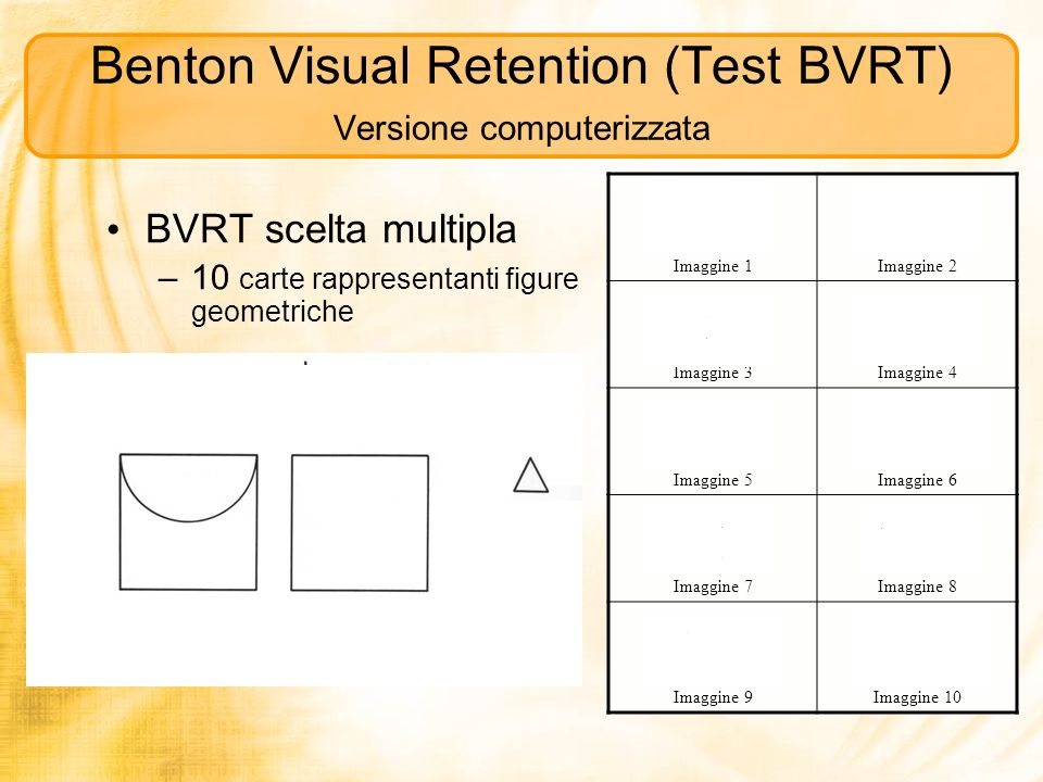 Benton Visual Retention (Test BVRT) Versione computerizzata