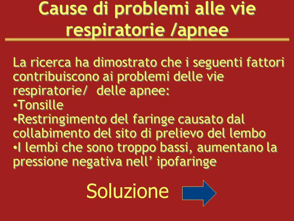 Cause di problemi alle vie respiratorie /apnee