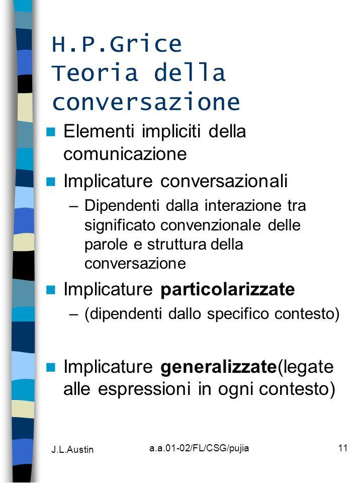 H.P.Grice Teoria della conversazione